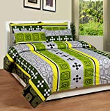 Soni Traders Green Abstract Design Pure Cotton Double Bedsheet With Pillow Cover- Bedsheet- 90 Inches X 90 Inches; Pillow Cover- 16 Inches X 27 Inches