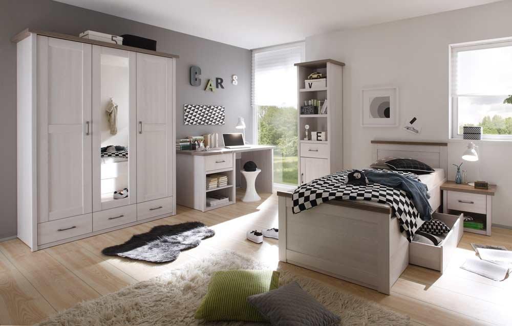 Jugendzimmer in Pinie weiß NB mit Abs. in Trüffel NB, 3-trg., Kleiderschrank (B: 148 cm), Bett 90×200 cm, Nachtkommode, Schreibtisch (B:141 cm)