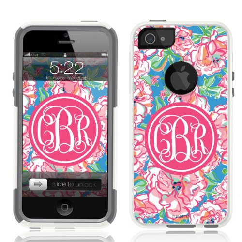 Iphone 5 / 5S Case White Lilly Pink Monogram (Generic For Otterbox Commuter) front-65202