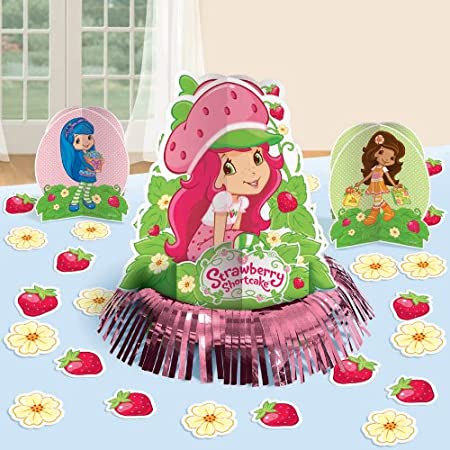 "Strawberry Shortcake Table Decorating Kit. Includes (1) fringe centerpiece (12.5""), (2) 3D Centerpieces (6.5""), and (20) pieces of paper confetti. This is an officially licensed Strawberry Shortcake product.Weight (lbs): 0.44Dimensions: 13.75 x 11.75..."