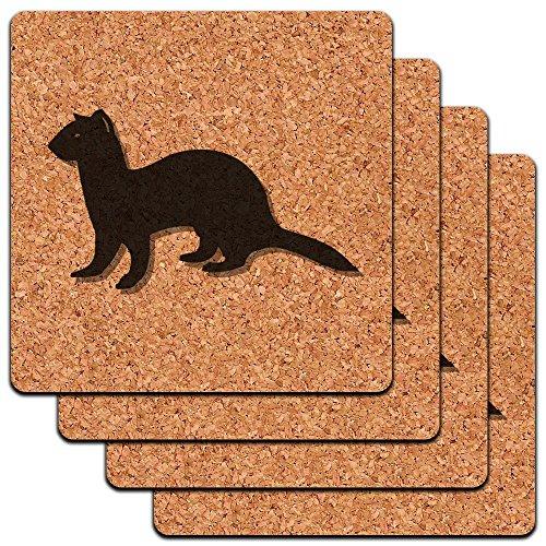 Ferret Weasel Low Profile Cork Coaster Set