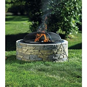 living accents fire pit stacked stone 30