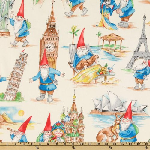 44'' Wide Michael Miller Gnome Some Traveler Cream Fabric By The Yard