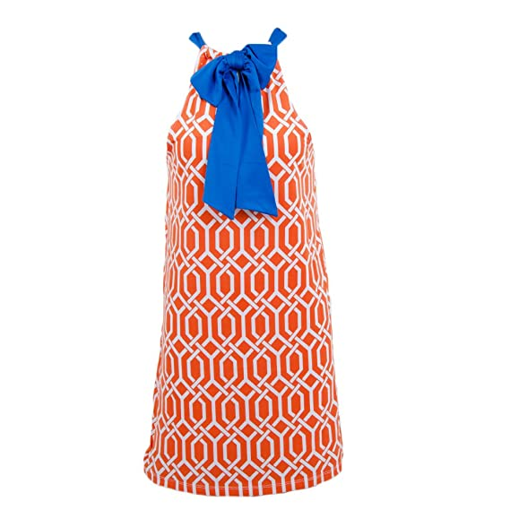 Mud Pie Women's Gameday Thunder Dress Orange Blue