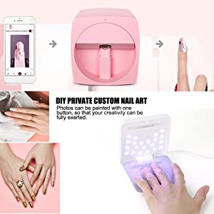 Pomya Nail Art Printer Nail Painting Machine Smart Nail Printer Lovely Nail Printer Pink Nail Printer(US) (Color: US)