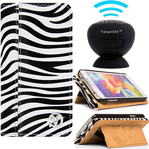 Samsung Galaxy S5 Vangoddy Self Stand Mary Case And Black Bluetooth Speaker With Suction Stand (Black And White Zebra)