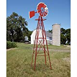 8-Ft. Red and White Ornamental Windmill - Know Which Way the Wind Blows