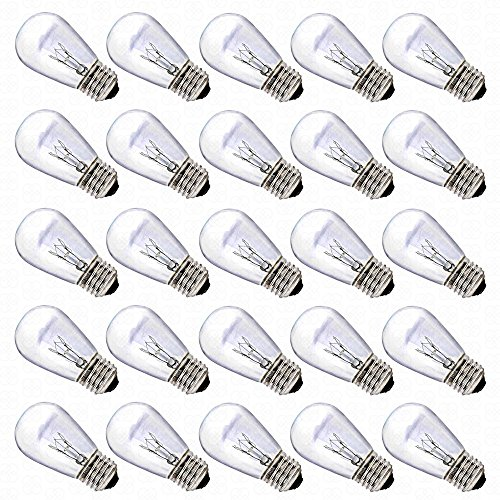 11 Watt Outdoor Replacement Bulbs by Deneve® – 25 Pack – Warm Replacement Clear Glass S14 Incandescent Light Bulbs with E26 Base Ideal for Deneve® 14-AWG Commercial Grade Outdoor String Lights with E26 Light Socket – Perfect Replacement Bulbs for Other E26 E27 Light Socket Commercial Grade String Lights – 11 watt outdoor bulb – Your Purchase Supports Charity – 1 Year 100% Satisfaction Guarantee!