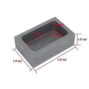 High Purity Refining Graphite Casting Melting Ingot Mold Graphite Crucibles for Gold Silver Aluminum Metals (125x80x40 (5.7oz)) (Tamaño: 125x80x40 (5.7oz))
