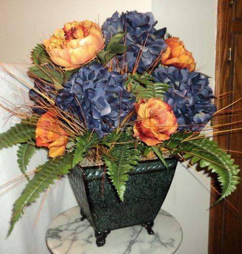 Victorian Hydrangea & Rose Silk Floral Arrangement