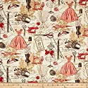 Timeless Treasures Vintage Sewing Red Fabric By The Yard