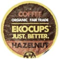 EKOCUPS Artisan Organic Hazelnut Flavored Coffee, Medium roast , in Recyclable Single Serve Cups for Keurig K-cup Brewers, 40 count
