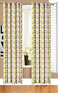 A Pair Of Eyelet Curtains Multi Coloured Butterfly Print