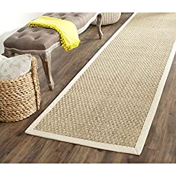 Safavieh Natural Fiber Collection NF114J Natural and Ivory Seagrass Runner, 2 feet 6 inches by 10 feet (2\'6\
