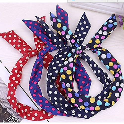 Pack Of 5 Cute Wire Headband Retro Bowknot Polka Dot Wire Hair Holders For Girls Teens Women