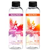 Art Epoxy Resin 2 Part AB Glue Coating Kit Crystal Clear 16 oz Total for Jewelry, Crafts, Tabletops, Art Work Making, Easy Mix 1:1 Ratio (Color: Transparent)