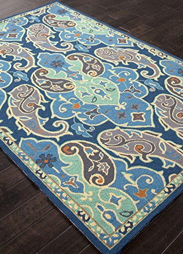 Addison and Banks Indoor-Outdoor Floral Pattern Polypropylene Area Rug, 5 by 7.6-Feet, Blue