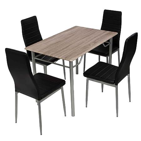Esstischgruppe Tischgruppe Sitzgruppe mit 4 Stuhlen und Esstisch 110x70 cm,schwarz