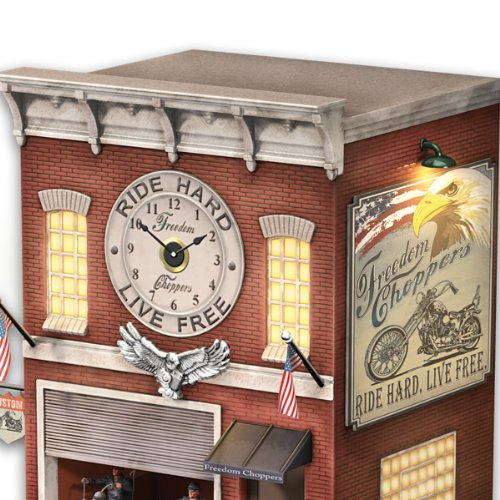 Cuckoo clock with lights sound motion freedom choppers motorcycle garage by the bradford - Motorcycle cuckoo clock ...