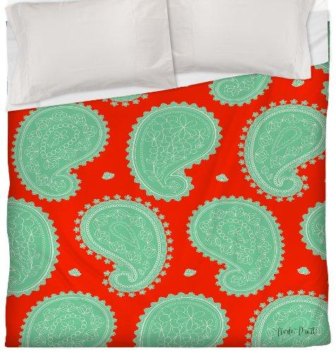 Thumbprintz Duvet Cover, Twin, Mint Paisley Floral front-480124