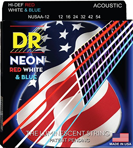 Dr Strings Nusaa-12 Coated Phosphor Bronze Acoustic Guitar Strings, Light, 12-54, Neon Red/White/Blue