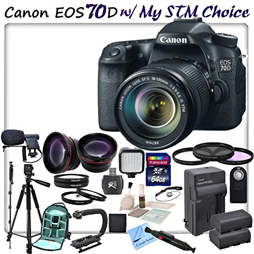 Canon Eos 70D Digital Slr Camera With Canon Ef-S 18-135Mm F/3.5-5.6 Is Stm Lens & Cs Stm Lens Kit. Includes: High Speed 64Gb Sdxc Memory Card, Sd Card Reader, Memory Card Wallet, Stabilizing Handle/Grip, Led Video Light, Lens Cap Keeper, Hd Wide Angle Len