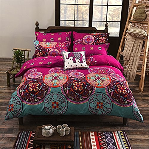 Auvoau Boho Bedding Set Lightweight Polyester microfiber Duvet Cover Set, Print Floral Design Bohemian Style Bedding Set,Twin Full Queen King Size (Full, 1) (Moroccan Bedding Full compare prices)