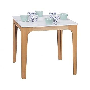 WOHNLING table à manger 80 x bois MDF 76 x 80 cm   Table à manger avec table en blanc   Robuste table de cuisine dans le style rétro   Table en bois design scandinave   Base en placage de frêne