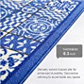 "Central Circles and Squares Blue Geometric 18"" x 31"" Mat ( Non Slip - Machine Washable ) Rubber Backed Kitchen Bathroom Entry Accent Rug"