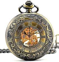 Infinite U Alta calidad Pantalla Tiempo dual Hueco Esqueleto Acero Reloj de bolsillo mecánico Bronce