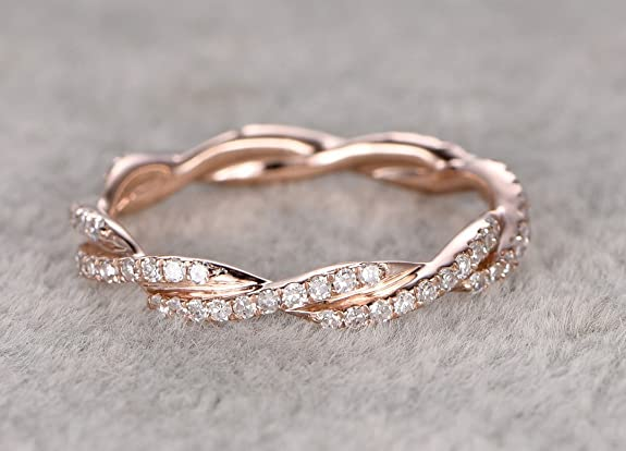 VogueGem New 0.38ct Diamonds Curved Diamond Full Eternity Wedding Ring 14K Rose Gold Wedding Ring Unique Twisted