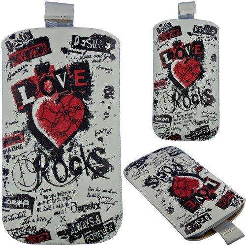 HandyFrog Design Einschubtasche Handytasche weiß schwarz rot Herz Heart Liebe Love Rocks - f. Sony Xperia P LT22i, Xperia J ST26i, Xperia arc S LT18i, Xperia acro S LT26w, Xperia S LT26i, Xperia SL LT26ii, Xperia V, Xperia T LT30i, Xperia ion LT28h - Handy Tasche Hülle Etui Schutzhülle