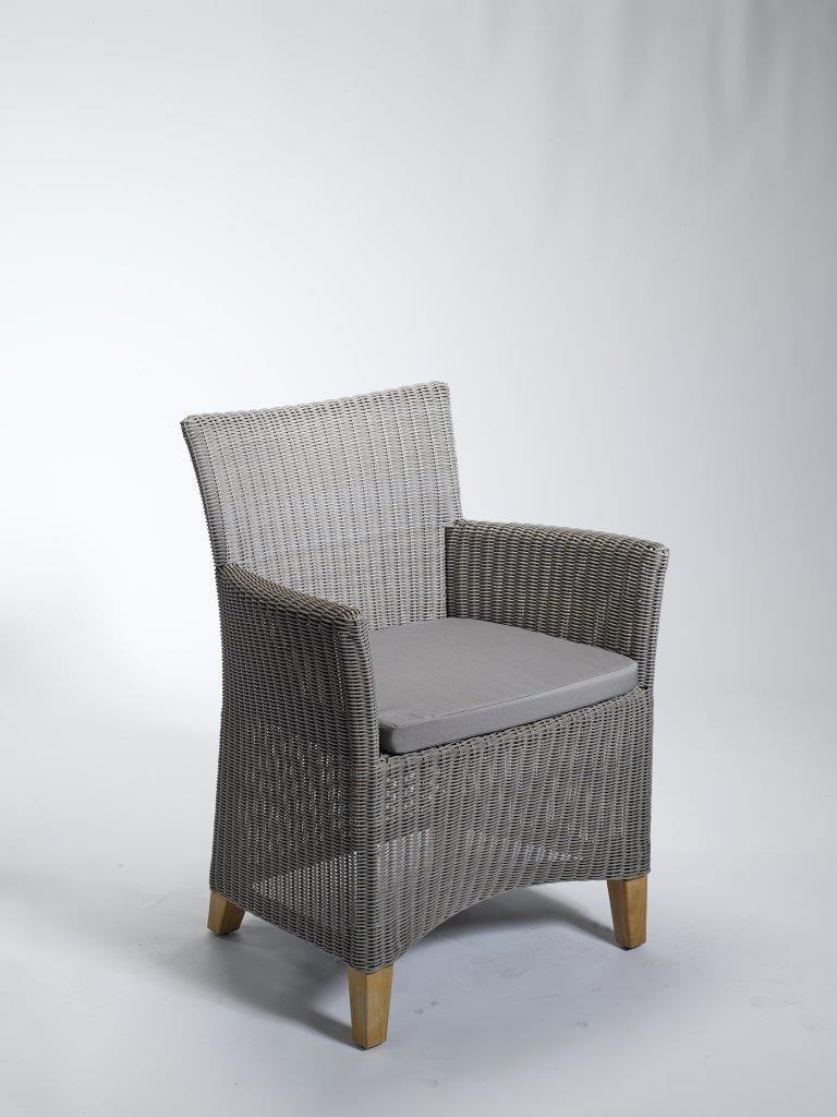 Dreams4Home Sessel 'Summer II' Rattan mit Sitzkissen grau Gartensessel Gartenstuhl Polyrattan jetzt kaufen