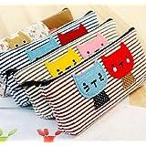 1 X hayabusa TM 4 pieces Kitten stripe Pen Bag cat Pencil case