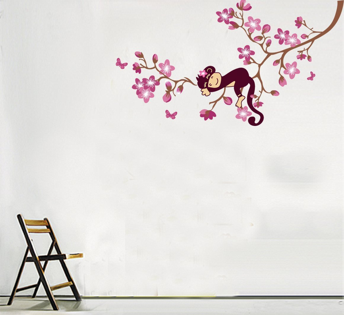 Simply diy nursery wall decals and stickers cute monkey and pink flower blossom tree peel and stick wall decals amipublicfo Image collections