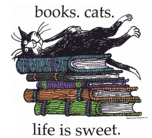 Tee Shirt - Books Cats - Life is Sweet by Edward Gorey (Adult Large)