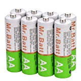 Mr.Batt NiMH AA Rechargeable Batteries Pre-Charged 1600mA (8 Pack) (Color: 8 Pack, Tamaño: 8 Pack)