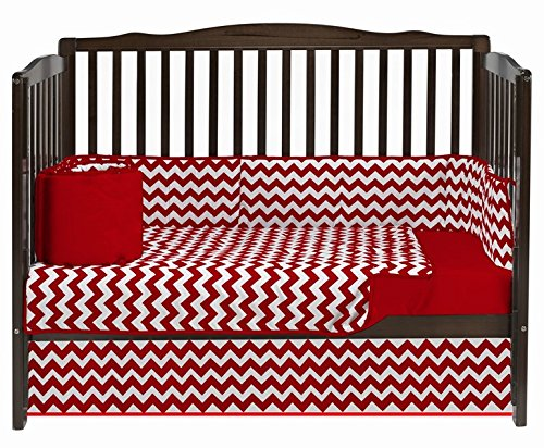 Baby Doll Chevron Dot Crib Bedding, Red