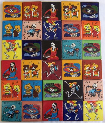 30 Hand Painted Day of the Dead Talavera Tiles 2 x 2