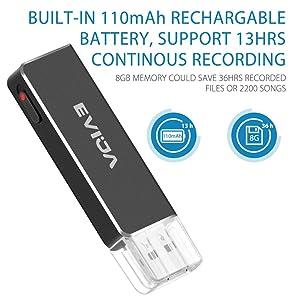 Mini Voice Recorder for Lectures,EVIDA 8GB Digital Sound Audio Recorder Mac Compatible Dictaphone 36 Hours Recording Device,USB,Rechargeable (Black) (Color: Black, Tamaño: Medium)