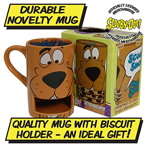 Official Scooby-Doo Mug with Biscuit Holder and Free Key Ring. Feed him scooby snacks!