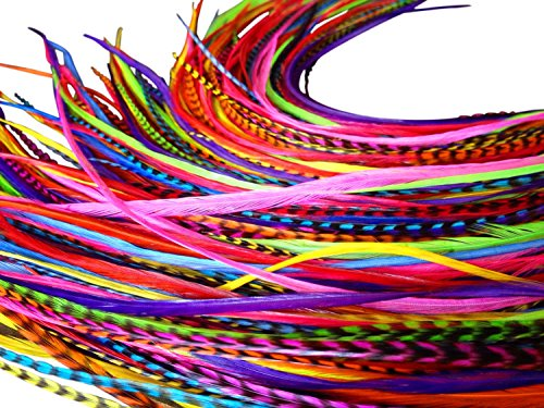 Feather-Hair-Extensions-100-Real-Rooster-Feathers-Long-Rainbow-Colors-20-Feathers-with-Bonus-FREE-Beads-and-Loop-Tool-Kit-By-Feather-Lily-RAIN