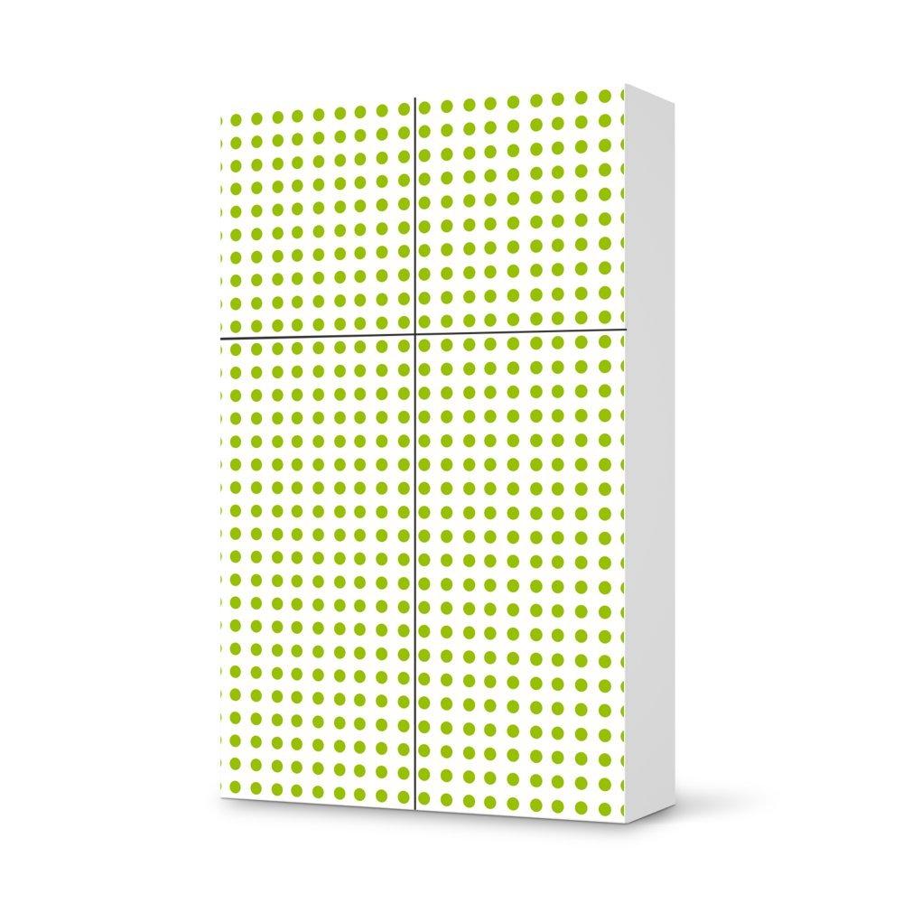 Folie IKEA Besta Schrank Hochkant 4 Türen (2+2) / Design Aufkleber Mono Dots – Grün / Dekorationselement online bestellen