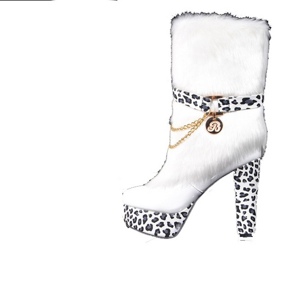 QueenFashion Women's Sexy Style Colorant Match High Chunky Heels Combat Boots with Metal Chains Zipper and Leopard Pattern