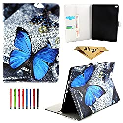 iPad Air 2 Case,iPad 6 Case, Alugs Painting Design Synthetic Leather Wallet Case Cover for Apple iPad Air 2(iPad 6)--Butterfly