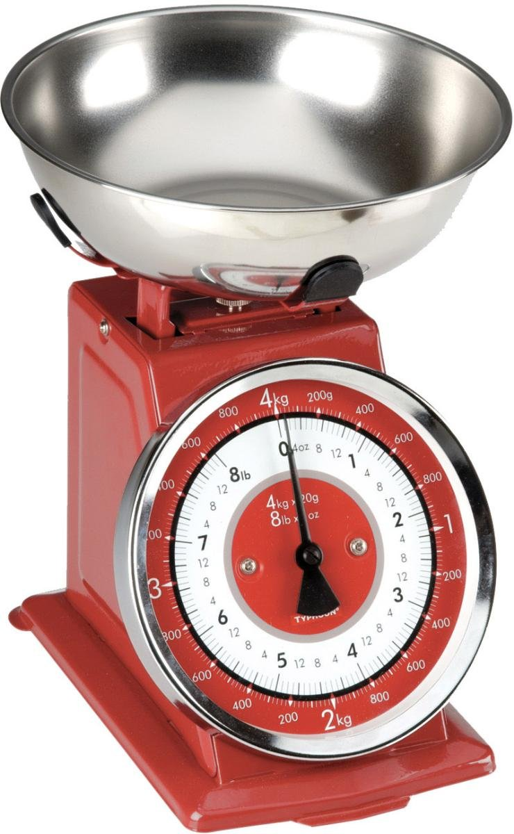 Typhoon Retro Red Stainless Steel Kitchen Scale 0
