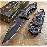 TAC-FORCE Spring Assisted Opening GRAY CAMO Bottle Opener Glass Breaker Knife