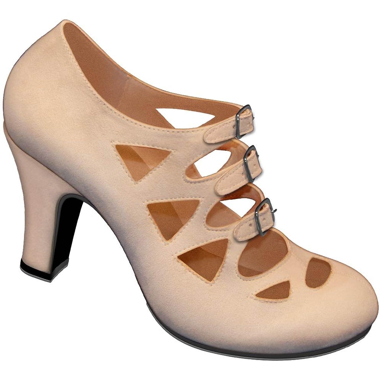 Aris Allen Womens Nude 1940s 3-Buckle Dance Shoes $69.95 AT vintagedancer.com