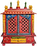 Thar Handicrafts Temple Cabinet (Painted Finish, Multicolor)