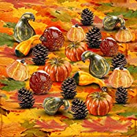 Thanksgiving Home Decoration Set of 250 Mini Maple Leaves + a Mix of 12 Artificial Mini Harvest Pumpkins and Gourds + 6 Pine Cones. Fall Autumn Wedding Décor & Parties from Elite Christmas Products